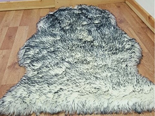 funky gadgets Plain Soft Fluffy Faux Fur Sheepskin Rug Rugs Hairy Washable Mat Non Slip Mats Carpet Twilight 60 x 100 cm