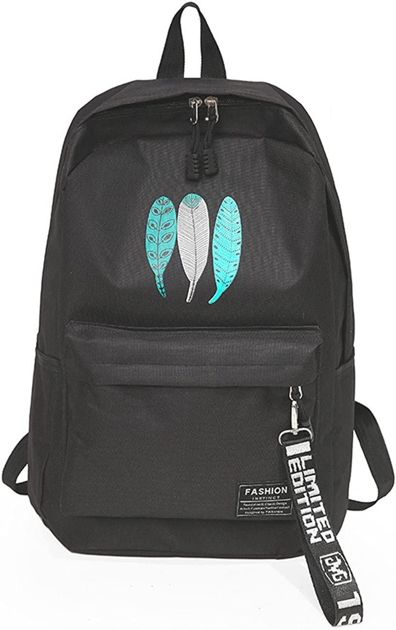 K.X.S Womens Backpack Large Capacity Leaf Print Causal Sporty Trendy Bag Color Black