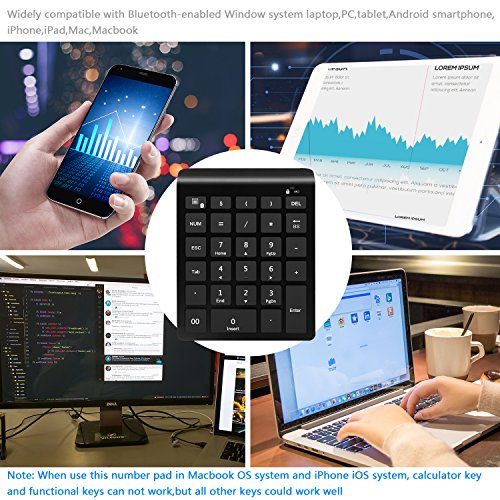 Rytaki Bluetooth Number Pad, Portable Wireless Bluetooth Keypad with Multiple Shortcuts- 28-Key Numeric Keypad Keyboard Extensions for Laptop, Tablets, Surface Pro, Windows, Smartphones and More-Black by Rytaki (Image #6)