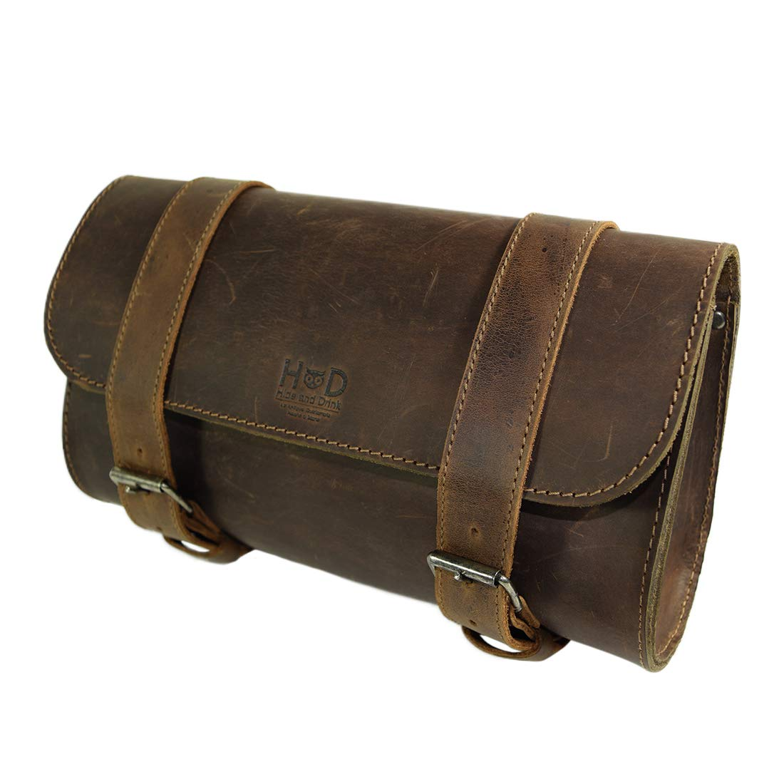 Hide & Drink, Thick Leather Motorcycle Handlebar Bag, 2 Straps, Tool Organizer, Motorbike Storage Pouch, Premium Saddle Bag for Bike Commuters, Handmade Includes 101 Year Warranty :: Bourbon Brown