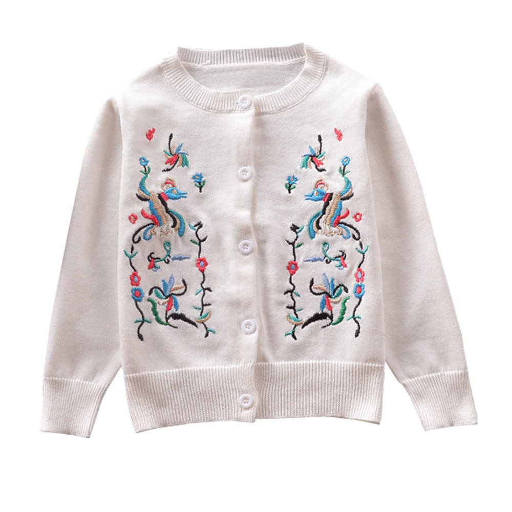 Hatoys Baby Care Toddler Girls Kids Baby Sweater Hooded Knit Pullovers Cardigan Warm Coat Clothes (White, 80)