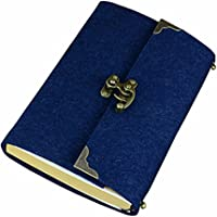 SAYEEC Retro Slim Felt Cover Hardcover Notebook With Bronze Lock - Lined Diary Travel Writing Journal Drawing Sketchbook Blue