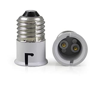 True Shopee E27 To B22 Screw Base Socket Ceramic Lamp Holder Light Bulb Adapter (White, 2-Piece) Lamp Bases at amazon