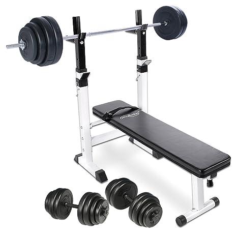 Physionics - Banco de pesas + Mancuernas de 30 kg + Barra de pesas de 60