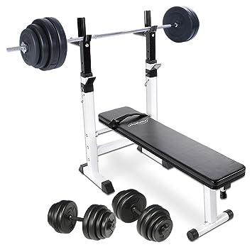Physionics - Banc de Musculation avec Repose Barre + Haltère Long 60 kg +  Haltères Courts b18c65734ee