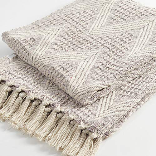 The Wish Tree Co. 50x60, Lilac, 100% Cotton Zigzag Farmhouse Throw Blanket with Fringe Tassels, Soft, Lightweight & Warm for Indoor/Outdoor, Chair, Sofa, Picnic, Beach, Travel and Everyday Use