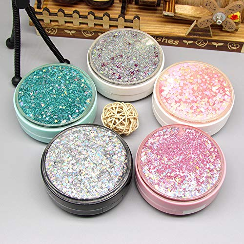 Cute Fashion Contact Lens Case,Portable Travel Glitter Luxury Bling Stars Liquid Quicksand Contact Lens Cases Eye Care Set(Gray-2)