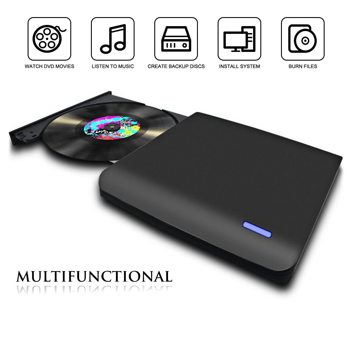External CD/DVD Drive CD/DVD recorder, Portable CD DVD +/-RW Drive Slim DVD/CD Rom Rewriter Burner Writer, High Speed Data Transfer for Macbook Pro Laptop/Desktops Win 7/8.1/10 and Linux OS by Quartet trade (Image #2)