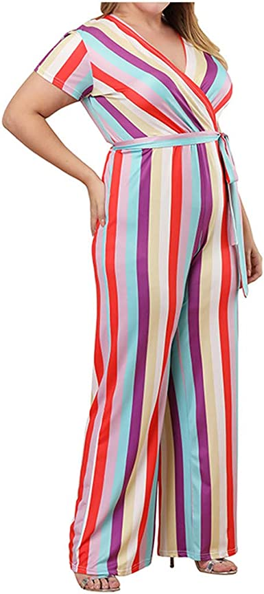 Women Long Sleeves v neck colorful Stripes Club party Casual Jumpsuit with belt