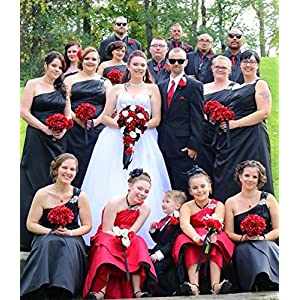 Angel Isabella Build Your Wedding Package-Artificial Flower Bouquet Corsage Boutonniere Rose Calla Lily Red White Black Wedding Theme (Long Cascade Bouquet) 3