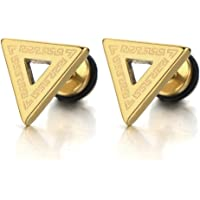 Stainless Steel Mens Gold Triangle Stud Earrings with Greek Key Pattern, Screw Back 2pcs
