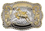 Big Belt Buckle Western Bull Rider Rodeo Cowboy Texas Two Tone Silver and Gold Rodeo