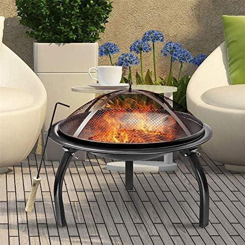JIACTOP Fire Pit - Grand Ronde Bois Cour et Patio Firepit Bowl - Barbecue Domestique à l'intérieur Durable