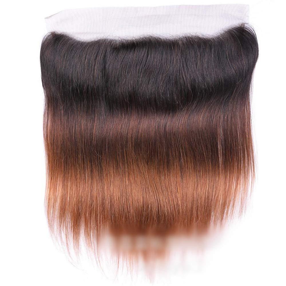 Vergeania オンブルブラジルバージンヘアストレートレース閉鎖人間の髪の毛1B / 4/30 3トーンカラー(8インチ18インチ)ロングストレートヘアウィッグ (Color : ブラウン, サイズ : 18 inch) B07QN4B673 ブラウン 18 inch