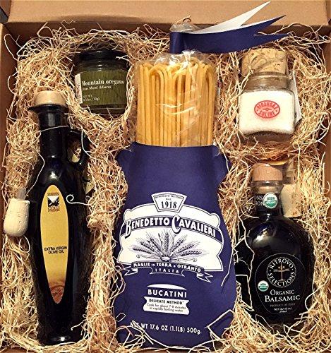 Pasta Connoisseur Gift Box with Extra Virgin Olive Oil, Organic Balsamic Vinegar, Wild Dried Oregano, Italian Sea Salt, Benedetto Cavalieri Bucatini Pasta Gourmet Gift Basket by Taylored Gourmet