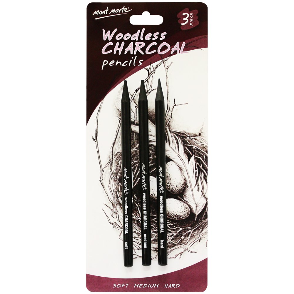Mont Marte Woodless Charcoal Pencils, 3 Piece. Features 3 Grades Of Charcoal Including Soft, Medium and Hard. 9328577014642