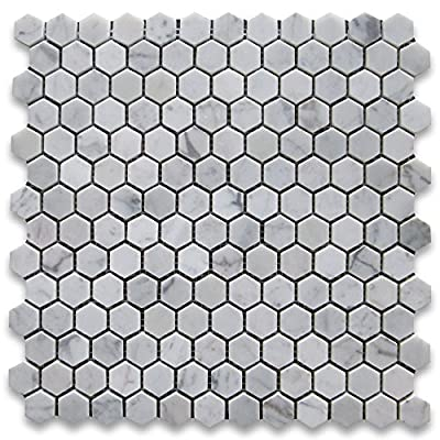 """Carrara White (Bianco Carrera) 1"""" Hexagon Mosaic Tile Polished - Marble from Italy from Stone Center Online"""