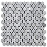 Carrara White (Bianco Carrera) 1' Hexagon Mosaic Tile Polished - Marble from Italy