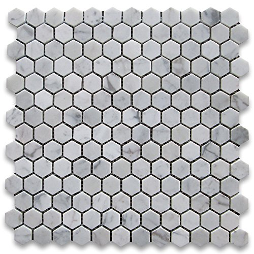 - Carrara White Italian Carrera Marble Hexagon Mosaic Tile 1 inch Polished