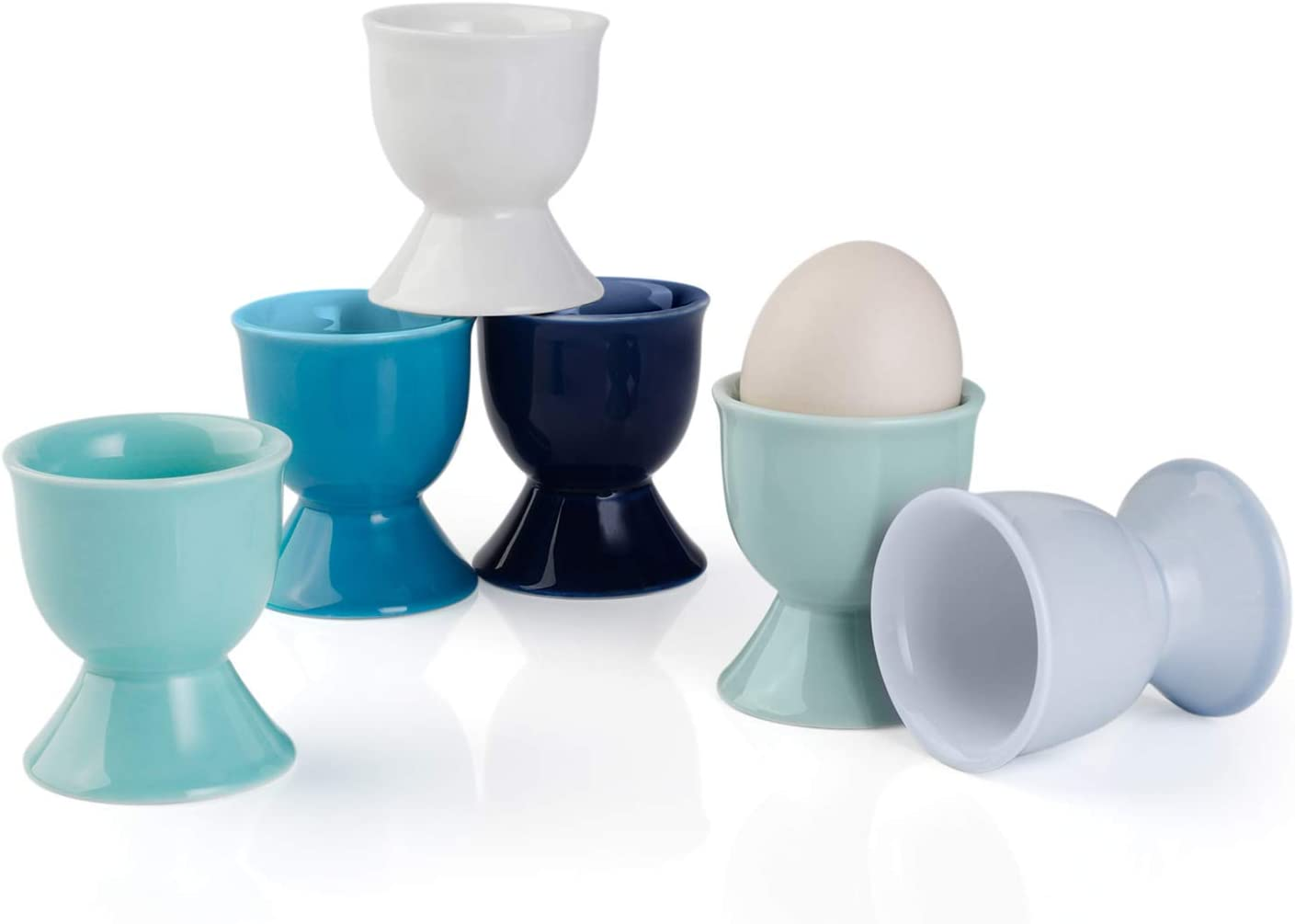Sweese 805.003 Porcelain Egg Cups, Egg Holders for Hard Boiled Eggs - Set of 6, Cool Assorted Color