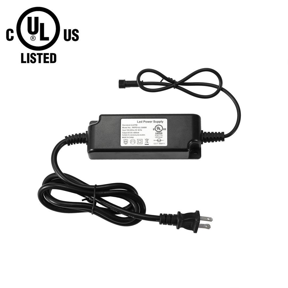 FVTLED Power Adapter, Transformer, Power Supply UL Listed UL8750 DC 12V 48W US Plug for LED Deck Lights Kit