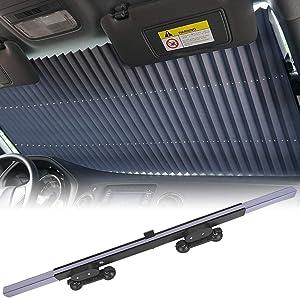 KINGMAZI Car Windshield Sun Shade, Retractable Sun Shade, Sunshade to Keep Your Vehicle Cool and Damage Free, UV Sun and Heat Reflector, Easy to Use, 2020 New.