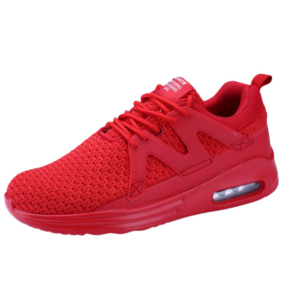 HOSOME Men Casual Shoes Comfortable Mesh Running Sports Shoes Athletic Walking Sneakers for Gym Outdoor Red