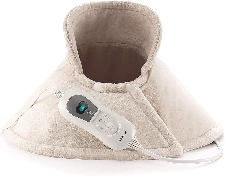 MVPower Manta Electrica Cuello, Almohadilla Cervical Electrica con 3 Ajustes de Temperatura y Apagado Automático(60x62cm): Amazon.es: Salud y cuidado personal