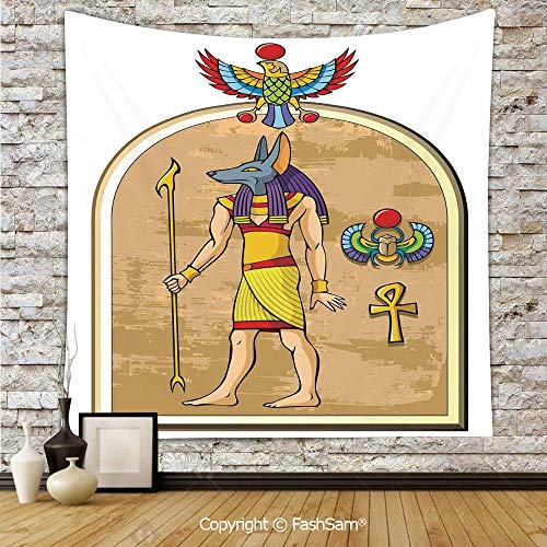 FashSam Tapestry Wall Hanging Graphic of Anubis of Old Egypt in Papyrus Style Ancient Myth Symbols Heritage Tapestries Dorm Living Room Bedroom(W39xL59)