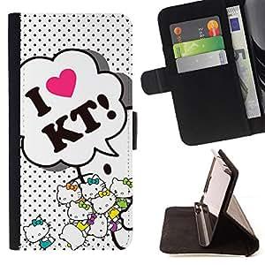 GIFT CHOICE / Billetera de cuero Estuche protector Cáscara Funda Caja de la carpeta Cubierta Caso / Wallet Case for Apple Iphone 4 / 4S // Cute Love Kitty //