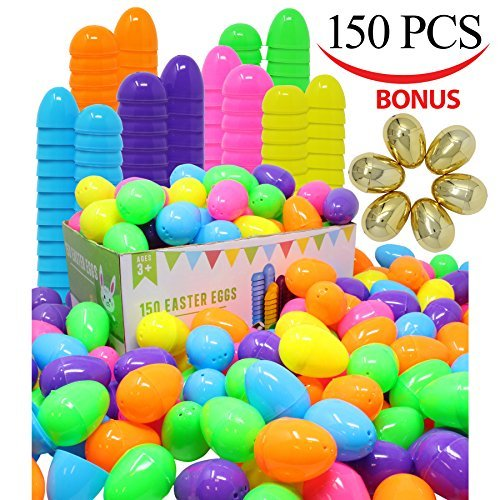 """144 Pieces 2 3/8"""" Easter Eggs + 6 Golden Eggs for Filling Specific Treats, Easter Theme Party Favor, Easter Eggs Hunt, Basket Stuffers Filler, Classroom Prize Supplies by Joyin Toy"""