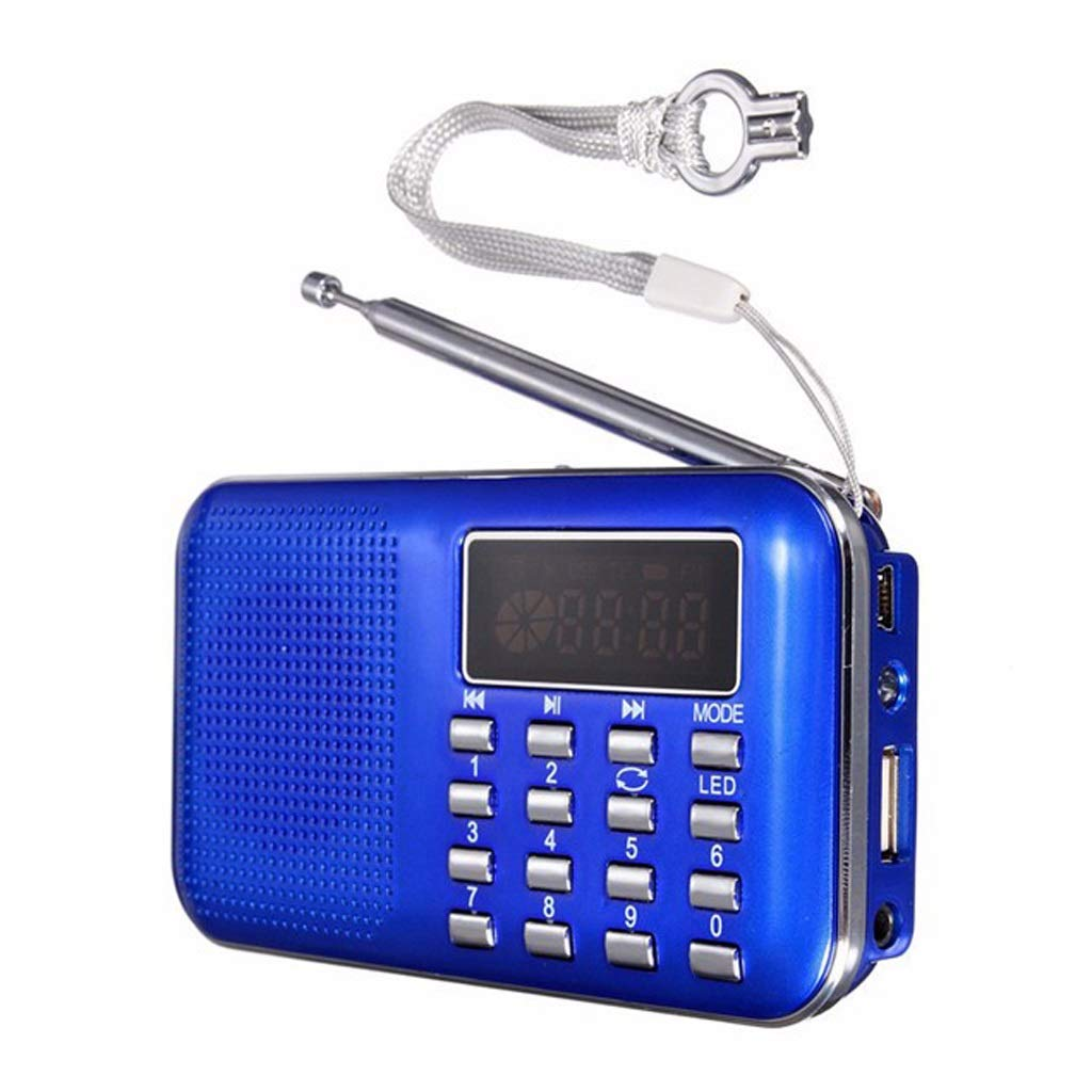 ZWS Radio Mini MP3 FM Radio Digital LCD Display TF Music Player with LED Flashlight Function Portable LED Fightlight Current Affairs Information (Color : Blue) by ZWS