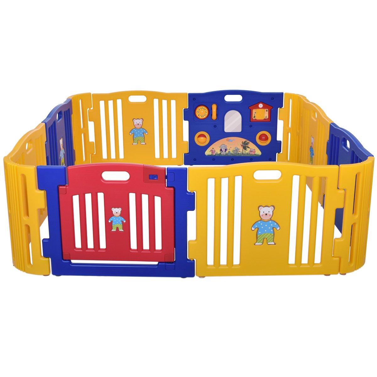 LAZYMOON Baby Playpen Kids 8 4 Panel Safety Play Center Yard Home Indoor Outdoor Fence