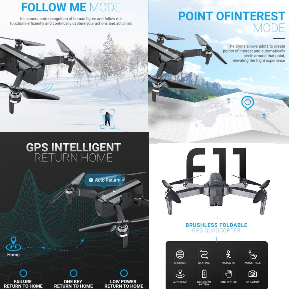 Cywulin RC Quadcopter Foldable Drone 1080P HD 5G WiFi FPV Camera Live Video, Brushless Motor, GPS Auto Return Home, Follow Me, Long Control Range, Altitude Hold, Intelligent Modular Battery (Black) by Cywulin (Image #2)