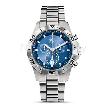 BMW originales deporte cronógrafo hombres reloj - Plata/Azul - Diámetro 43 mm: Amazon.es: Coche y moto