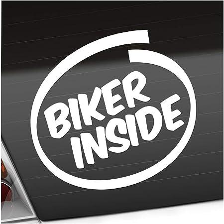 Biker Inside Motorcycle 11 X 10 Cm In 15 Colours Neon Chrome Sticker Sticker Auto