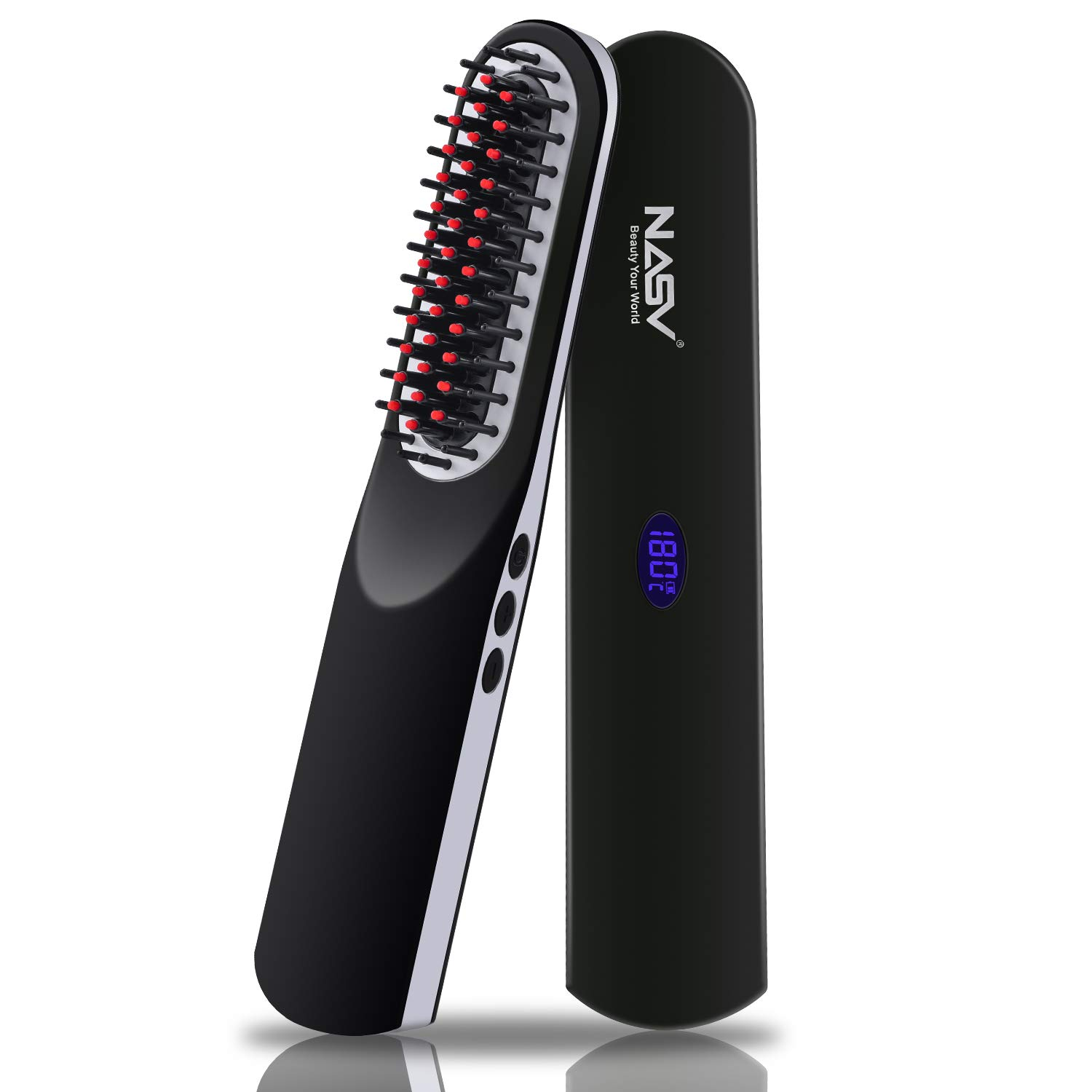 Beard Straightener for Men, Hot Air Brush 2-in-1 One Step Hair Dryer Beard Straightening Comb for Men, Ceramic Heating LCD Display Adjustable Temperatures, Portable Straight Heated Comb