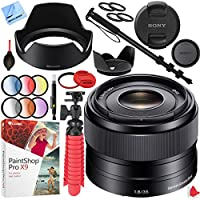 Sony SEL35F18 35mm f/1.8 Prime Fixed E-Mount Lens with 49mm Filter Sets Plus Accessories Bundle