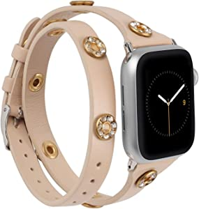 Moolia Double Wrap Band Compatible with Apple Watch Bands 40mm 38mm Women, Slim Leather Double Tour iWatch Bands with Bling Studs Straps Bracelet for Apple Watch Band Series 6 SE 5 4 3 2 1, Beige