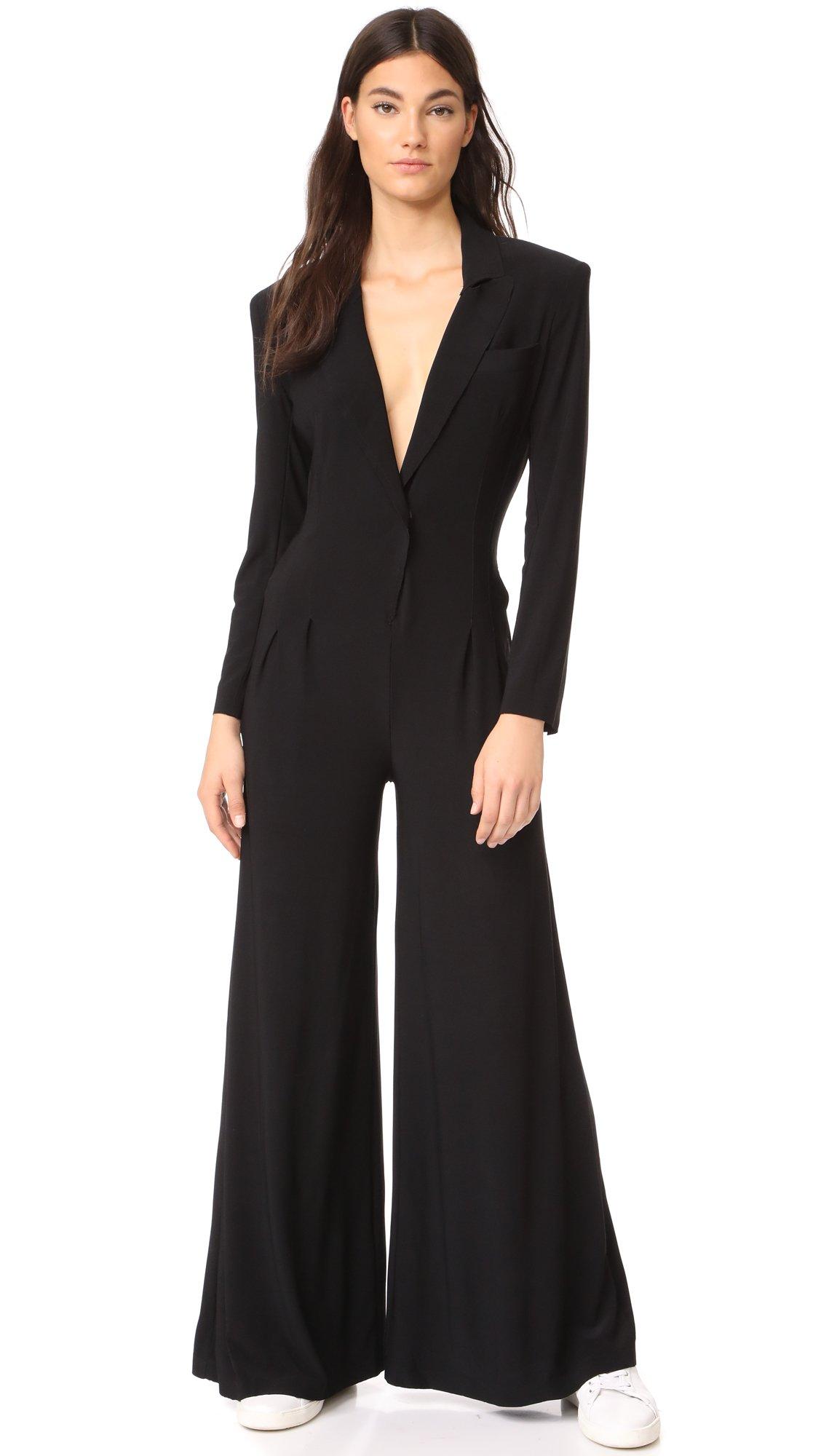 Norma Kamali Women's Single Breasted Elephant Jumpsuit, Black, Small