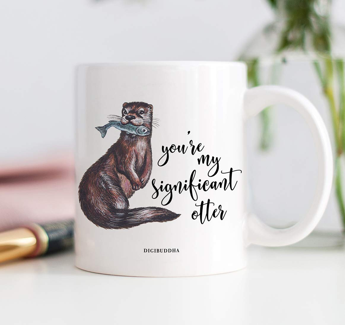 Cute Significant Otter Coffee Mug Gift Idea Special Love Wedding Anniversary Christmas Present for Girlfriend Boyfriend Spouse Husband Wife Partner 11oz Ceramic Beverage Tea Cup by Digibuddha DM0472