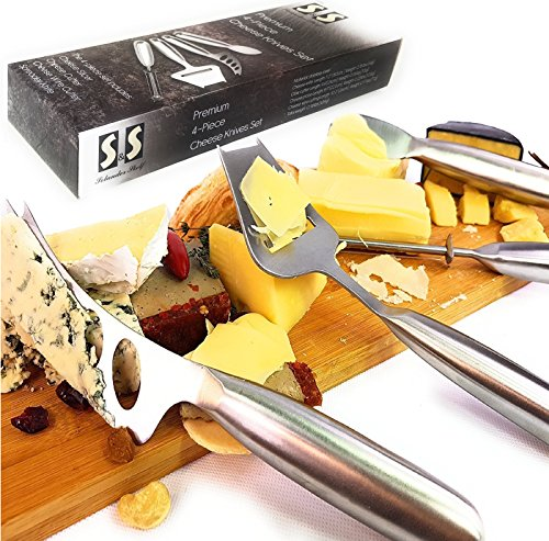 - Solander Skelf Cheese Slicer, Cutter, Wire Cutter, Spreader Knife | Cheese Knife Set 4-Pieces | Stainless steel Cheese Knives Sets with Gift box | Cheeses Serving Accessories Cutlery | Great Gift Idea