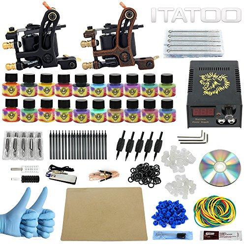 ITATOO Complete Tattoo Kit for Beginners Tattoo Power Supply Kit 20 Tattoo Inks 50 Tattoo Needles 2 Pro Tattoo Machine Kit Tattoo Supplies TK1000013