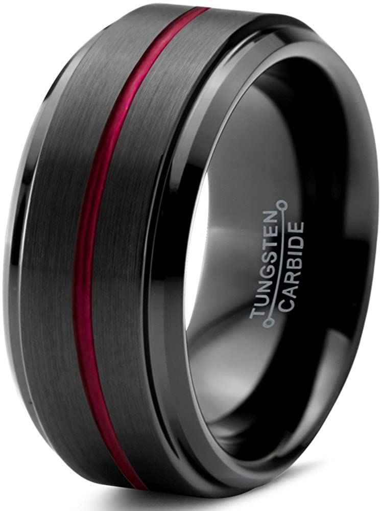 Tungsten Wedding Band Ring 10mm for Men Women Red Black Beveled Edge Brushed Polished Center Line Lifetime Guarantee Charming Jewelers CN-8841