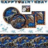 Jurassic World Fallen Kingdom Dinosaur Party Supplies Pack For 16 - Includes Birthday Banner, Table Cover, Cake & Lunch Plates, Napkins and Birthday Card (Bundle of 6 Items)