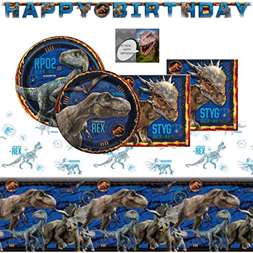 Jurassic World Fallen Kingdom Dinosaur Party Supplies Pack For 16 - Includes Birthday Banner, Table Cover, Cake & Lunch Plates, Napkins and Birthday Card (Bundle of 6 Items) -