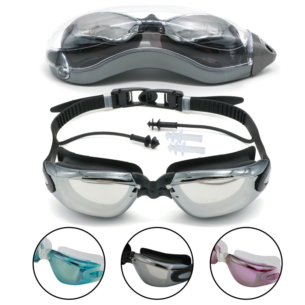 Swim Goggles水泳メガネwith Ear Plugs Ua保護と曇り止め水ゴーグル
