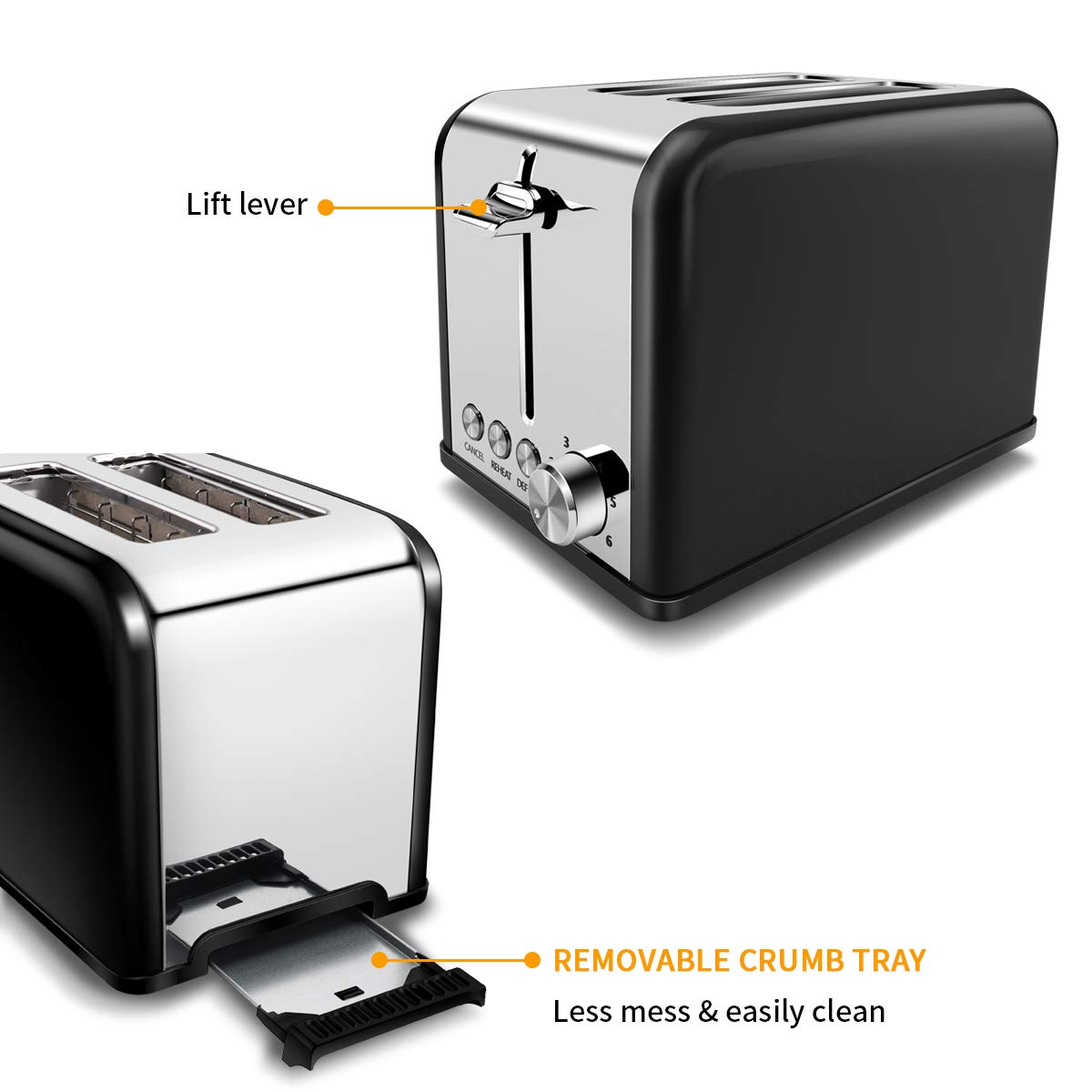 Morpilot 2 Slice-Toaster,Compact Two Slice Toaster 6 Shade Settings, Small Toaster with Cancel/REHEAT/DEFROST Function,Extra Wide Slot Compact Stainless Steel Toasters for Bread Waffles,Black