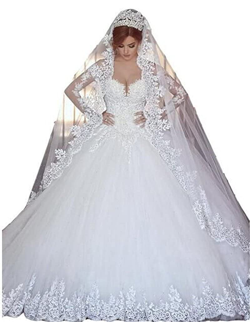 White ANGELA Women's Lace Long Sleeves Ball Gown Tulle Wedding Dress with Long Veil