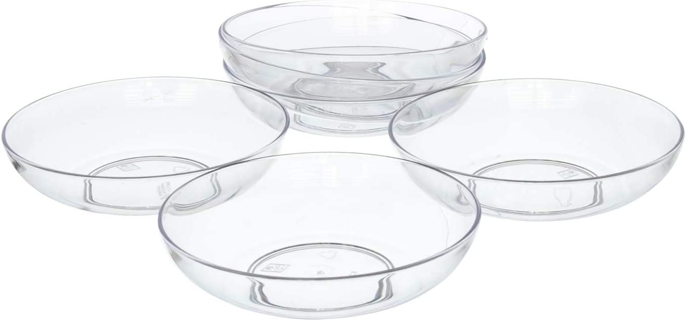 """6"""" Clear Acrylic Low Pie Plate, Floral Flower Dish, Wedding, Party, Home and Holiday Decor, 6 Pack"""